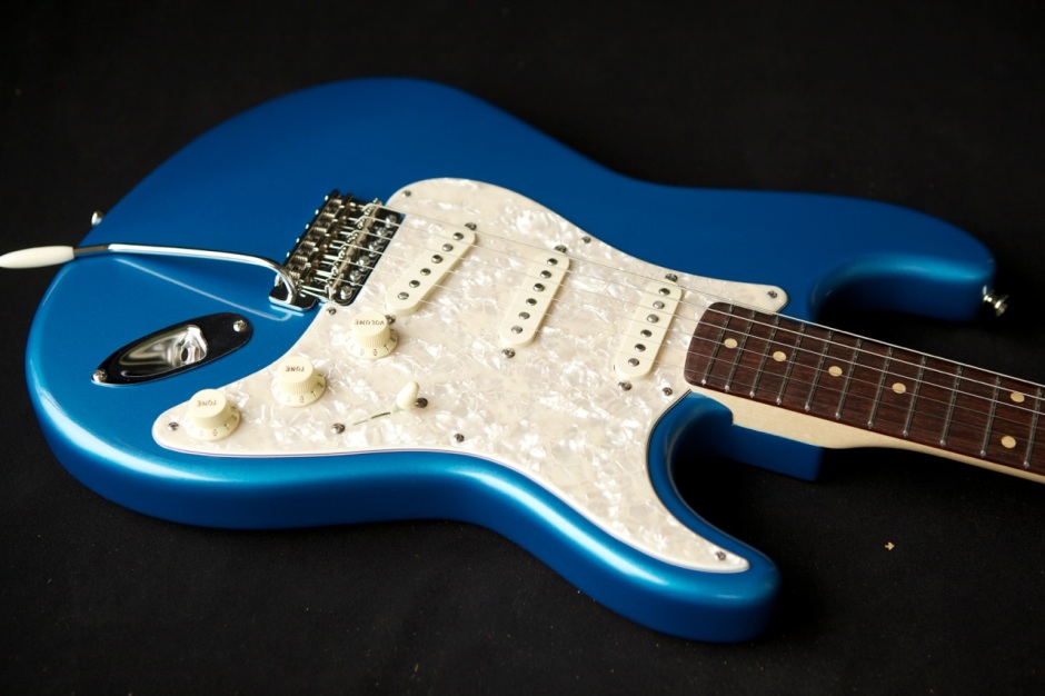 custom guitar stratocaster finish matching headstock blue photo